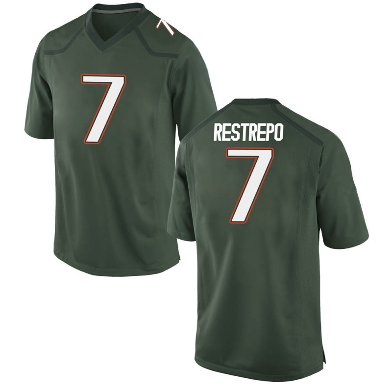 Game Youth Xavier Restrepo Miami Hurricanes Green Alternate College Jersey