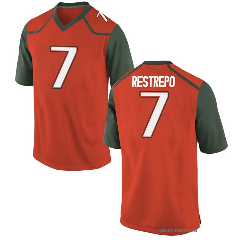 Game Youth Xavier Restrepo Miami Hurricanes Orange College Jersey